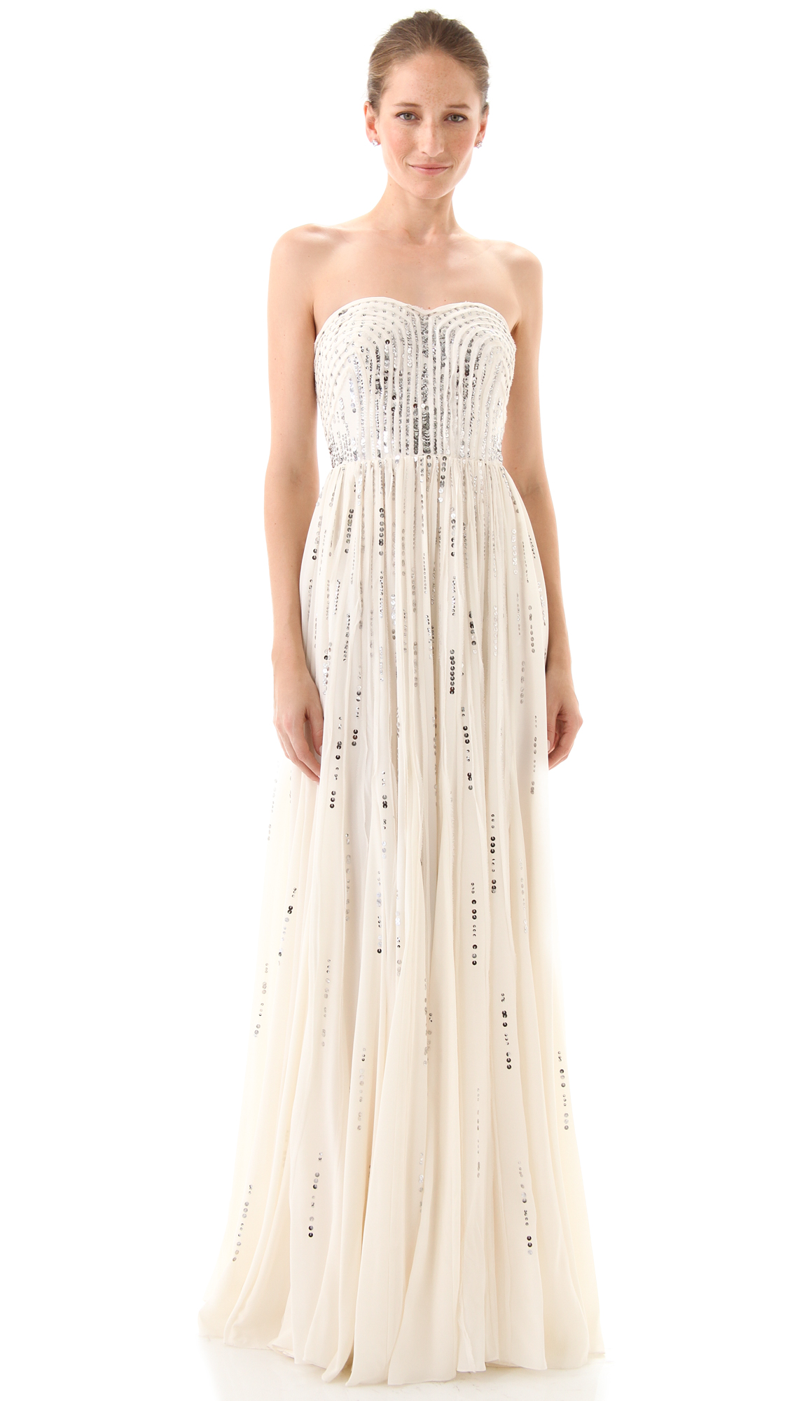Rebecca Taylor Frayed Strapless Gown | SHOPBOP