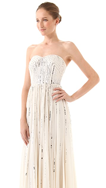 Rebecca Taylor Frayed Strapless Gown