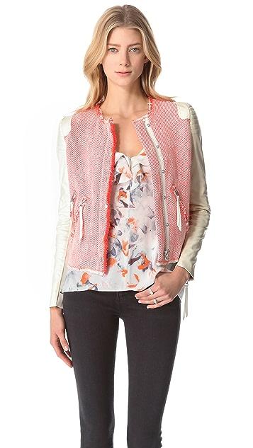 Rebecca Taylor Leather Sleeve Tweed Jacket