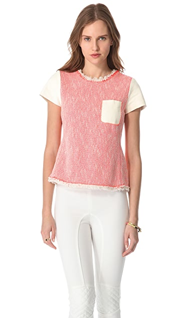 Rebecca Taylor Neon Tweed Top with Leather