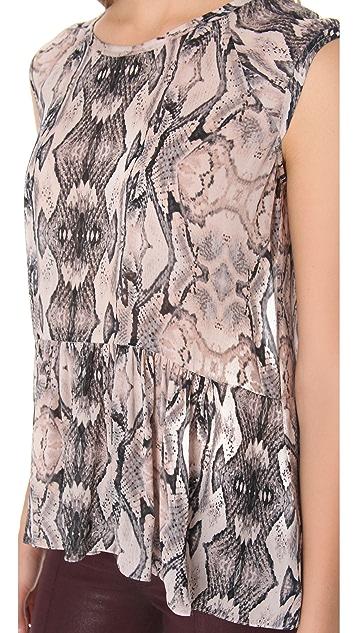 Rebecca Taylor Snake Print Peplum Top