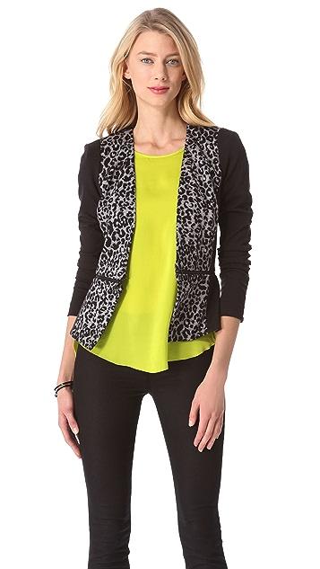 Rebecca Taylor Leopard Knit Blazer