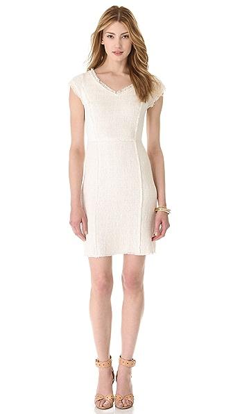 Rebecca Taylor Tweed V Neck Shift Dress
