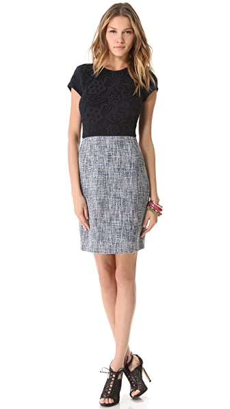 Rebecca Taylor Lace & Tweed Dress