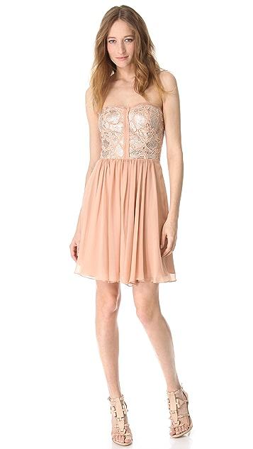Rebecca Taylor Camo Sequin Strapless Dress