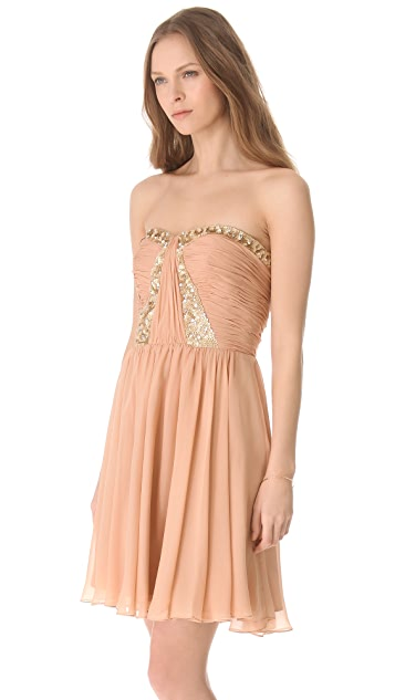 Rebecca Taylor Floral Beading Strapless Dress