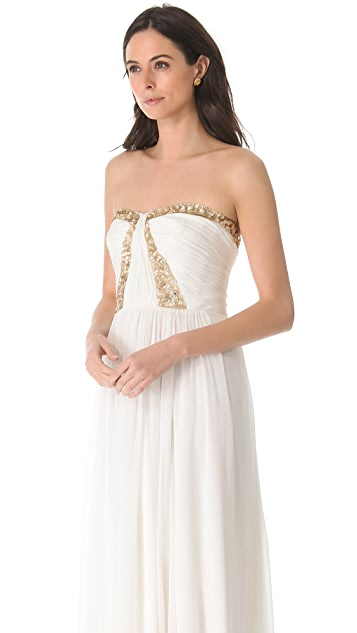 Rebecca Taylor Floral Beading Strapless Gown