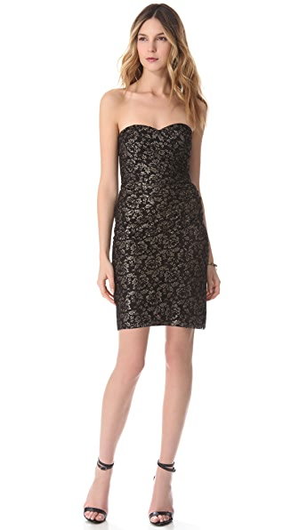 Rebecca Taylor Metallic Lace Strapless Dress
