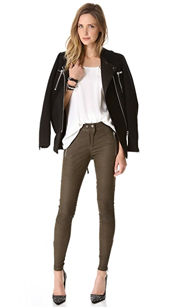 Rebecca Taylor Leather Moto Pants
