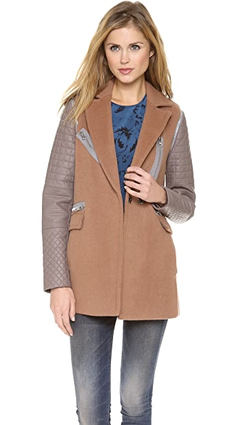 Rebecca Taylor Leather Sleeve Coat