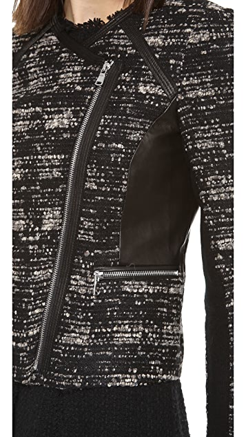 Rebecca Taylor Boucle & Leather Jacket