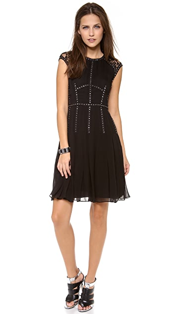 Rebecca Taylor Cap Sleeve Dress with Lace Insets