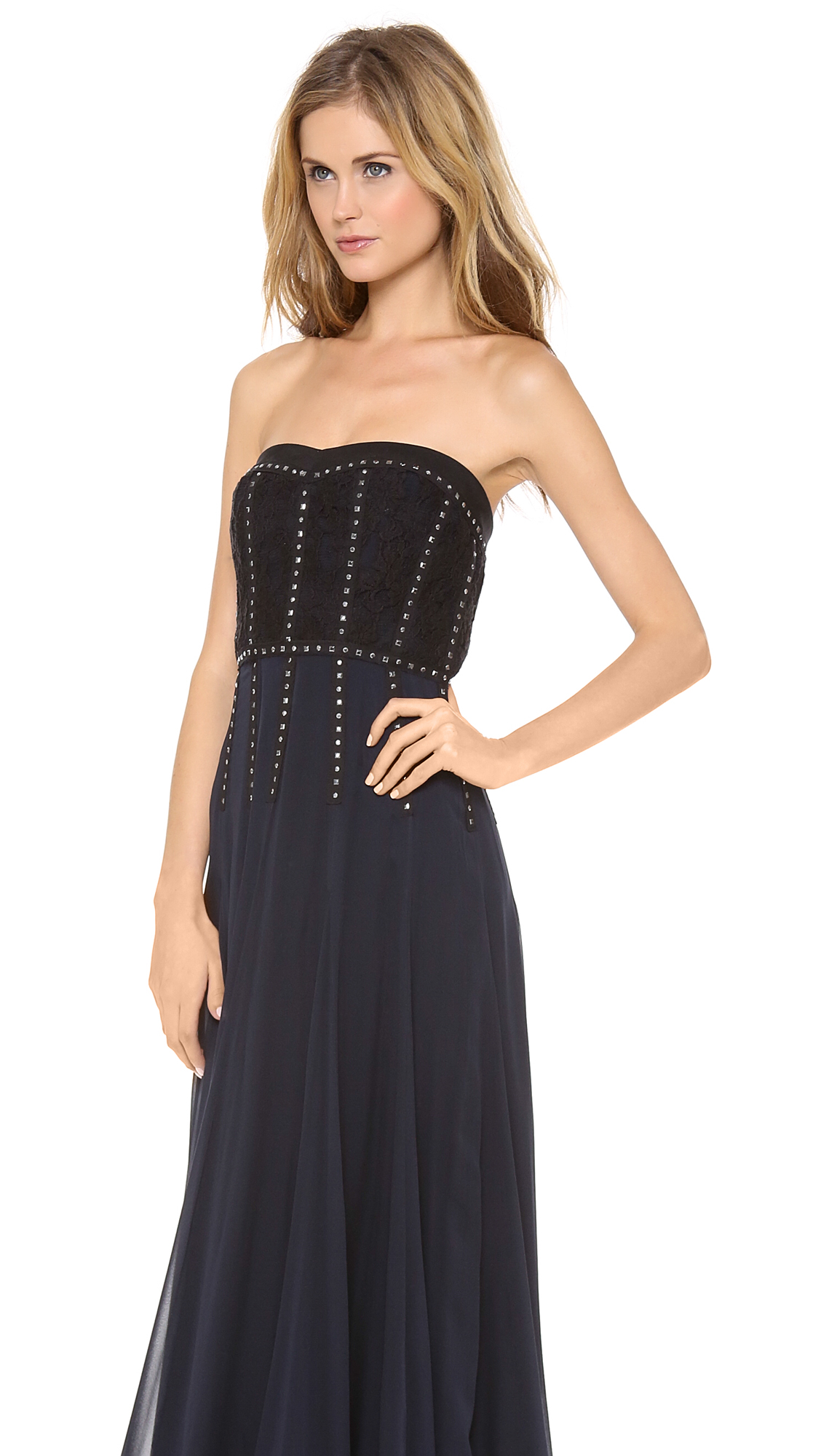 Rebecca Taylor Lace Inset Strapless Gown | SHOPBOP