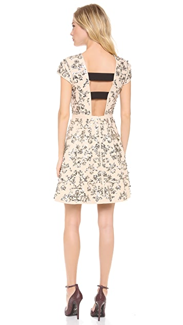 Rebecca Taylor Short Sleeve Scroll Embellished Dress
