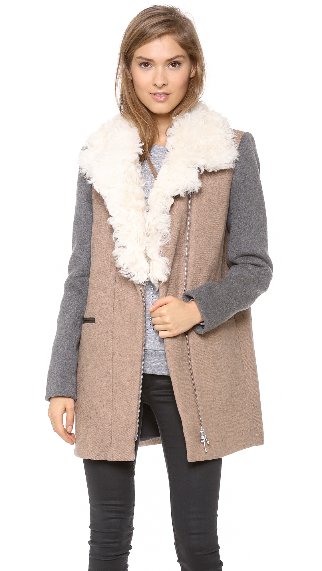 Rebecca Taylor Shearling Collar Wool Coat | SHOPBOP