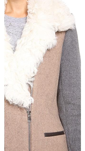 Rebecca Taylor Shearling Collar Wool Coat