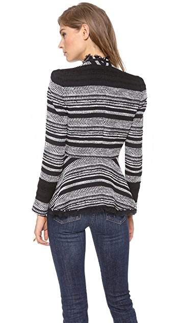 Rebecca Taylor Stripe Tweed Peplum Jacket