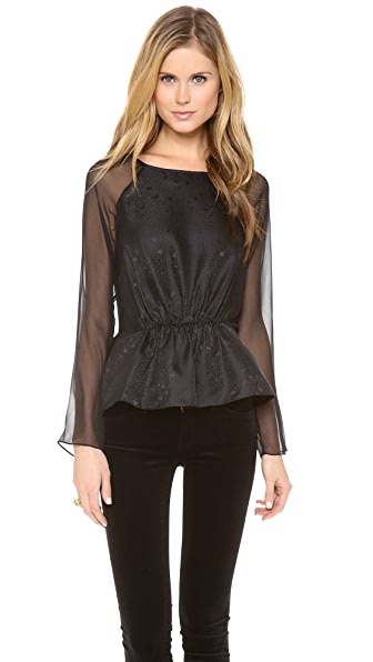 Rebecca Taylor Textured Silk Peplum Top
