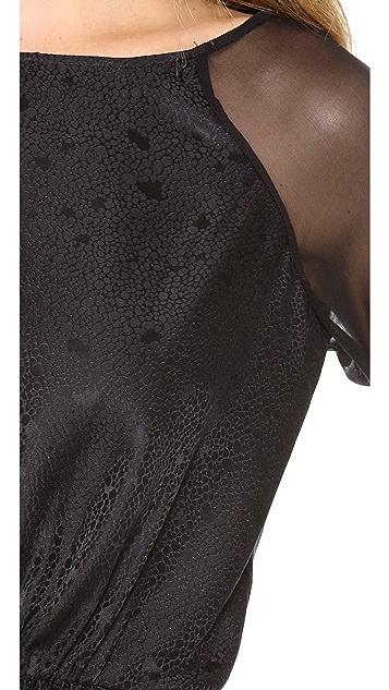 Rebecca Taylor Textured Silk Peplum Top