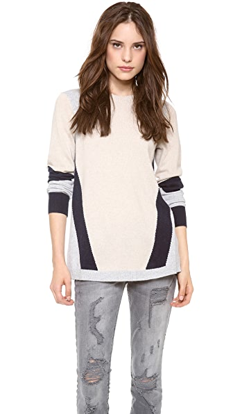 Rebecca Taylor Colorblock Intarsia Sweater
