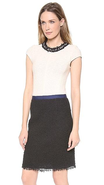 Rebecca Taylor Cap Sleeve Colorblock Tweed Dress