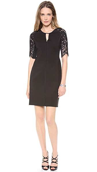 Rebecca Taylor Fitted Dress with Lace Insets