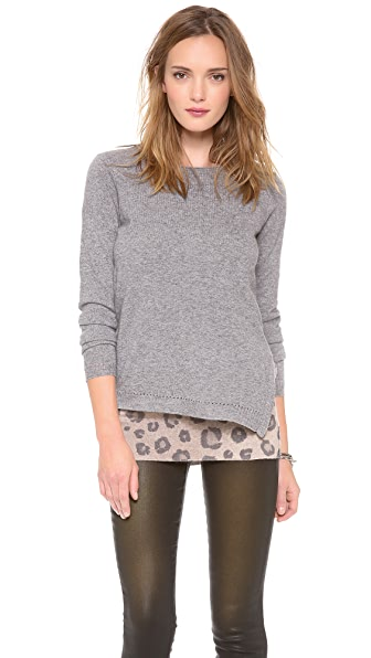 Rebecca Taylor Blocked Leopard Layered Pullover