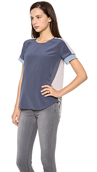 Rebecca Taylor Short Sleeve Silk Inset Tee
