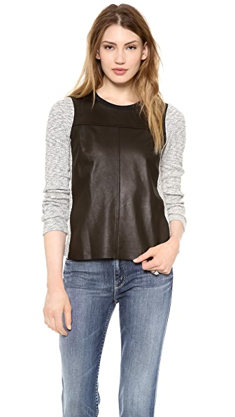 Rebecca Taylor Leather Front Sweater