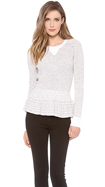 Rebecca Taylor Marled Peplum Pullover