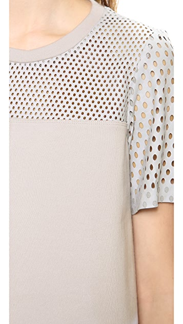 Rebecca Taylor Top with Perforated Leather Yoke