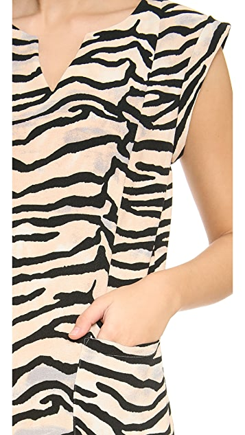 Rebecca Taylor Tiger Printed Slit Neck Shift Dress