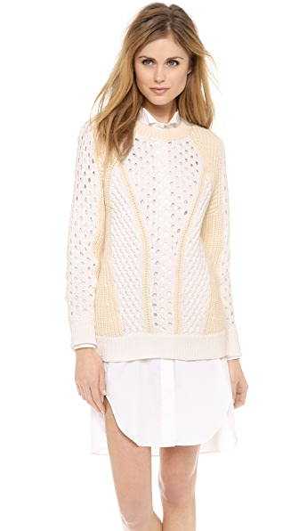 Rebecca Taylor Honeycomb Patchwork Sweater
