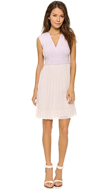Rebecca Taylor V Neck Dress with Pleated Skirt