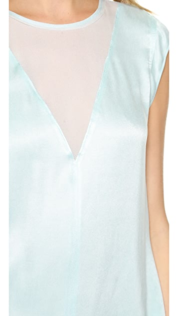 Rebecca Taylor Cupro Top with V Inset