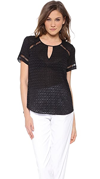 Rebecca Taylor Geo Clip Short Sleeve Top
