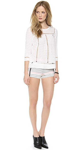 Rebecca Taylor Geo Clip Long Sleeve Top
