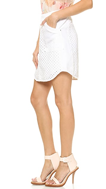 Rebecca Taylor Punch Denim Skirt