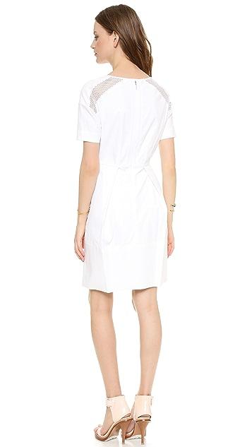 Rebecca Taylor Poplin Dress with Mesh
