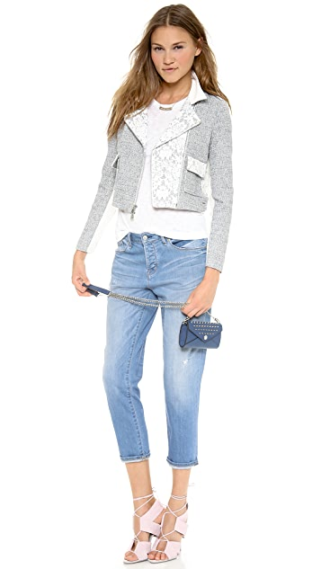 Rebecca Taylor Tweed & Lace Crop Jacket