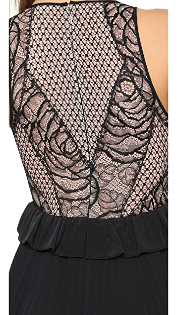 Rebecca Taylor Lace Peplum Gown