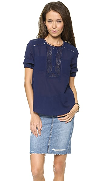 Rebecca Taylor Eyelet Double Pocket Top