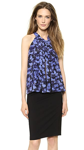 Rebecca Taylor Summer Storm Pleated Halter Top