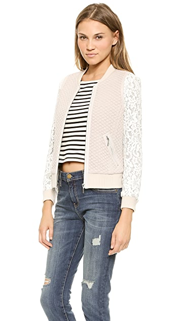 Rebecca Taylor Textured Bomber with Lace Sleeves