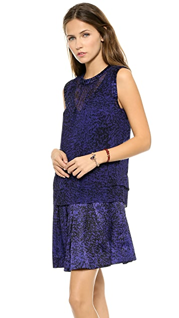 Rebecca Taylor White Noise Print Double Layer Dress