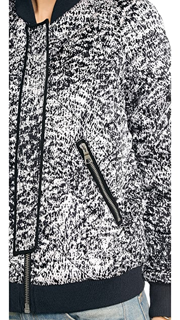 Rebecca Taylor White Noise Print Flight Jacket