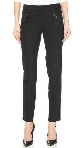 Ava Slim-Leg Techno Pants in Black