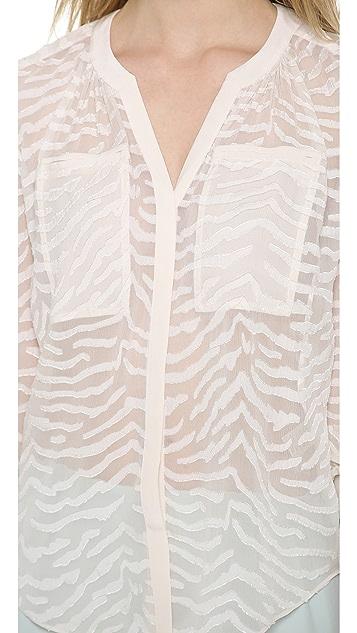 Rebecca Taylor Zebra Clip Dot Blouse