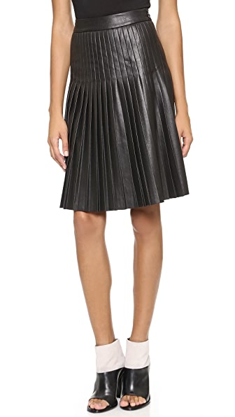 Rebecca Taylor Faux Leather Pleated Skirt