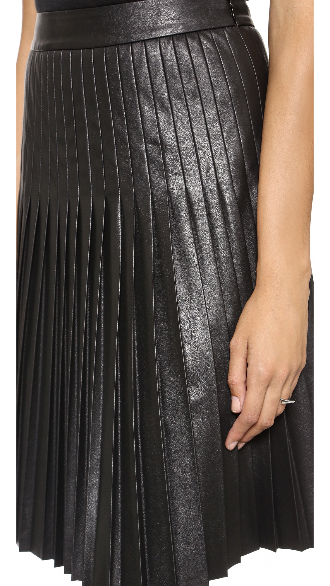 1aeef1ec2b Rebecca Taylor Faux Leather Pleated Skirt | SHOPBOP